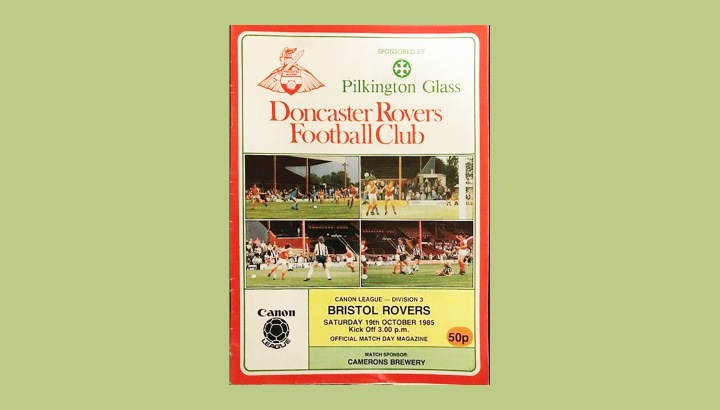 Front cover of the matchday programme from Doncaster Rovers home game against Bristol Rovers in October 1985