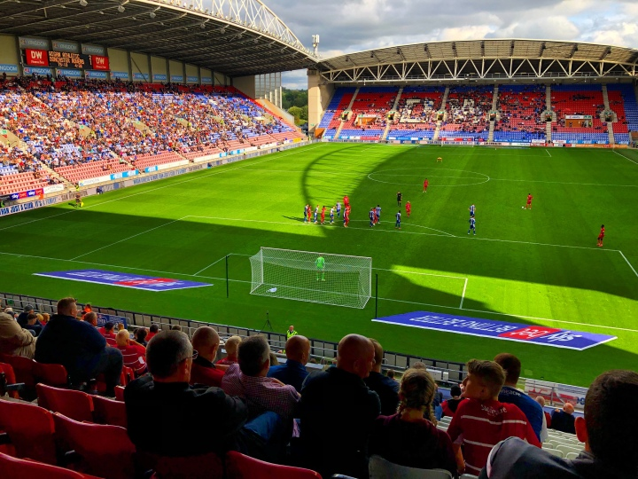 match action at the DW Stadium during Wigan Athletic's 2-1 win over Doncaster Rovers